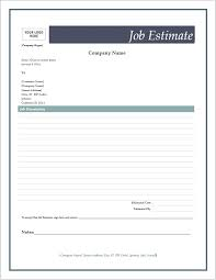 free estimate forms templates free job estimate forms word templates for free download