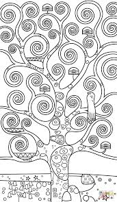 Small Picture Tree of Life by Gustav Klimt coloring page Free Printable