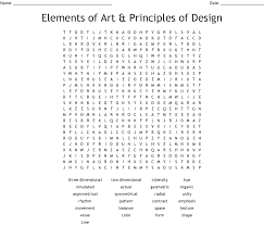 Elements And Principles Of Design Crossword Elements Of Art Principles Of Design Word Search Wordmint
