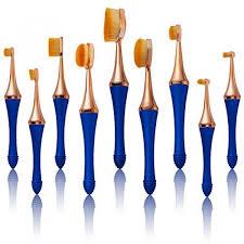 tancy koki oval mermaid makeup brushes set 9pcs original patent soft professional detachable magnetic toothbrush foundation