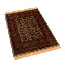traditional green persian bokhara artificial faux silk effect rugs 8438 16 100 x 140cm