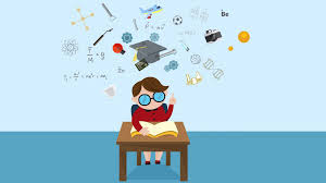 cartoon animation of a boy child student is reading education book on his desk with science
