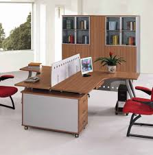 double desk home office. L Shaped White Polished Wooden Double Desk For Home Office A