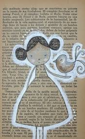 great idea for a smash book page drawing on text paper and outlining in white