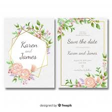 Wedding Invitation Templates With Photo Floral Wedding Invitation Template With Golden Frame Vector