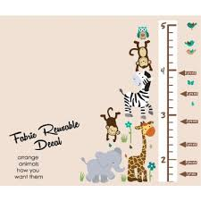 Wild Animals Safari Evergreen Height Wall Chart Decal