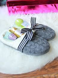 get slippers and fill them with little treats or gift