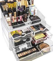amazon sorbus makeup case acrylic cosmetic jewelry storage display set x large clear home kitchen