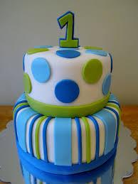 Stripes Dots Boys 1st Birthday 2 Tier Vanilla Cake With Vanilla