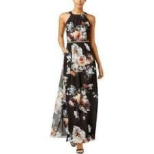 Slny Womens Black Floral Print Embellished Waist Maxi Dress