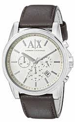 men s armani exchange watches watchtag com armani exchange outerbanks chronograph leather men s watch ax2506