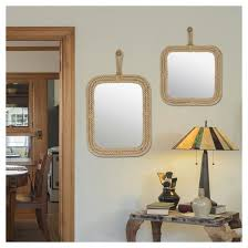 rectangle decorative wall mirror with rope light brown ckk home