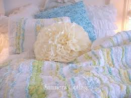 king shabby summer ruffles beach cottage blue yellow green chic rag quilt set