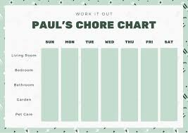 Chore Chart Template For Teens Green Teenagers Chore Chart Templates By Canva