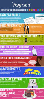 8 interview tips for job candidates aversan inc this infographic now