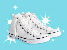 sparkling clean white converse sneakers