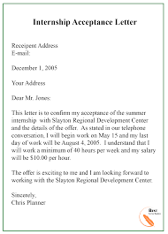 7 Internship Acceptance Letter Template Examples Sample