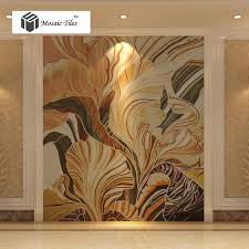 abstract flower leaf painting parquet environment friendly jade glass mosaic tile bisazza design unique custom home