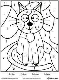 Small Picture Kindergarten Color by Number Printable Worksheets