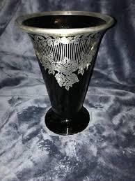 retro art deco silver overlay black art glass vase foliage scrolls swags 8 high