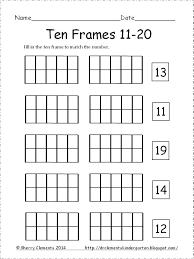 grade 1 and 2 math printable for ten frame free kindergarten numbers frames mon core k