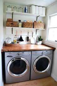 butcher block countertop laundry room bright white and rustic wood laundry room a nice functional small