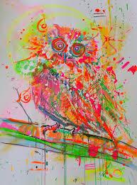 Crazy Painting Saatchi Art Nice And Crazy Owl Painting By Marta Zawadzka