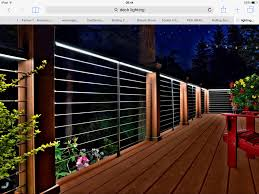 Feeney Exterior DesignRail with CableRail infill with intermediate pickets.  Also Features Under Rail Lights. In Black Fine Texutre