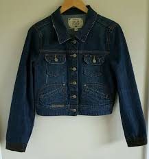 old navy girls denim jean jacket size large blue leather cuffs