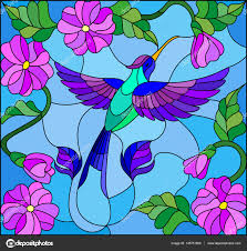 ilration in stained glass style with colorful hummingbird on background of the sky greenery and