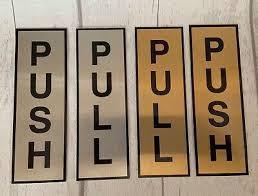 pull door signs metal silver