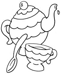 Tea Party Coloring Pages Birthday Printable Tea Party