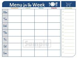 weekly menue planner free weekly menu planner template