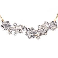 womens diamond cer flower necklace