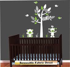 mini green gray and white teddy bears wall decal set
