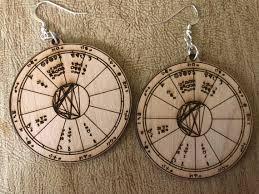 Astrology Chart Earrings Custom Wood Engraved Natal Chart Earrings Birth Chart Earrings Alder Wood Gift