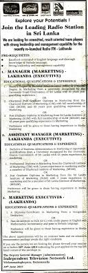 vacancy manager marketing assistant manager marketing job description