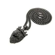 <b>Hip Hop King Crown</b> Roaring Lion Head Pendant 24 Various Chain ...