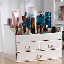 creative with mirror desk leather jewelry box makeup storage box organizer conner case stand holder