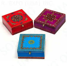 Hand Decorated Boxes Hand Painted Hinged Wood Boxes Set100 100x100 arts and crafts 2