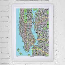 hand drawn map of new york art print art prints stationery gifts from evermade
