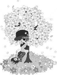 花が咲き誇る桜の木の下に佇む男性のモノクロイラスト イラスト素材