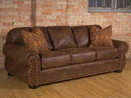 rustic fauxleather fabric on traditional sofavintage oak
