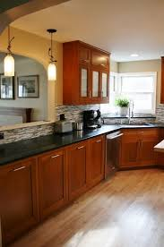 Kitchen Design Cherry Cabinets Custom Small Kitchen Design With Cherry Wood Cabinets Cherry Wood
