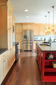 Kitchen Cabinets Include Natural Birch Shaker Door And Custom Red