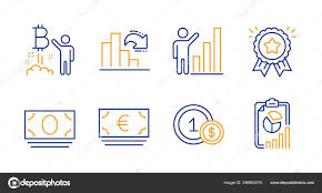 Euro Currency Usd Coins And Bitcoin Project Icons Set