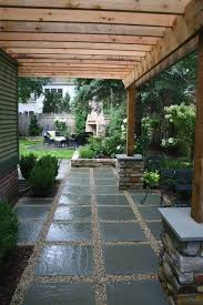 Backyard Paver Designs Cool LOVE This Idea The Pergola The Gravel And Square Pavers
