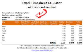 Time Card Conversion Chart Tenths Free Excel Time Card Calculator With Lunch And Overtime