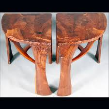 custom made abstract organic expressionism in furniture walnut coffee table with matching end tables