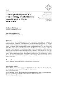 Recruitment Cv Pdf Looks Good On Your Cv The Sociology Of Voluntourism